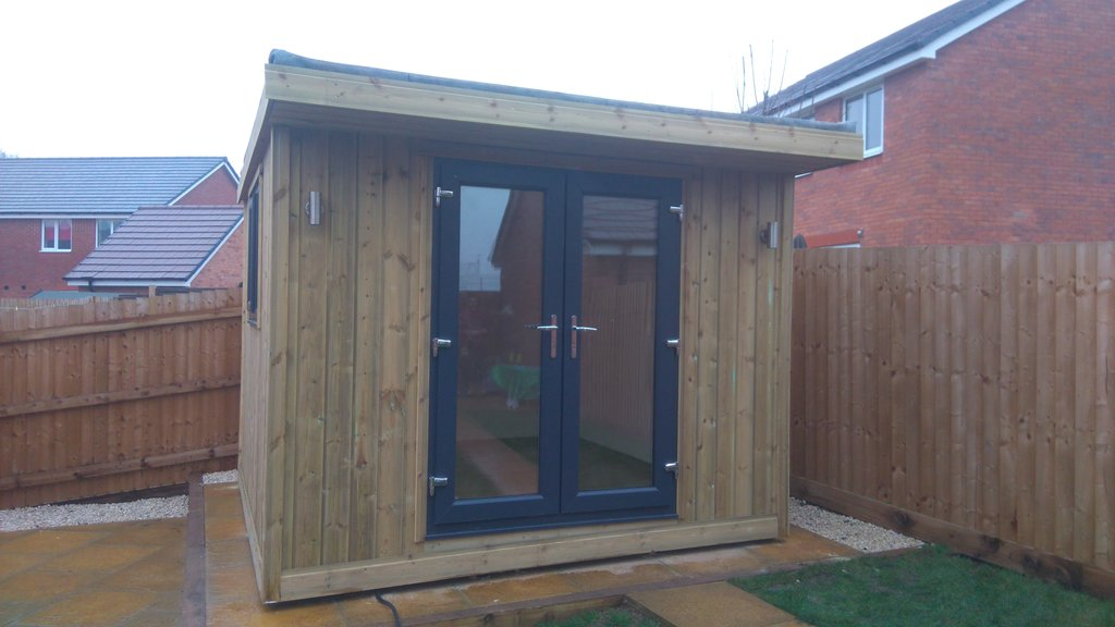 Fully insulated hair salon made to measure garden buildings for Insulated garden buildings